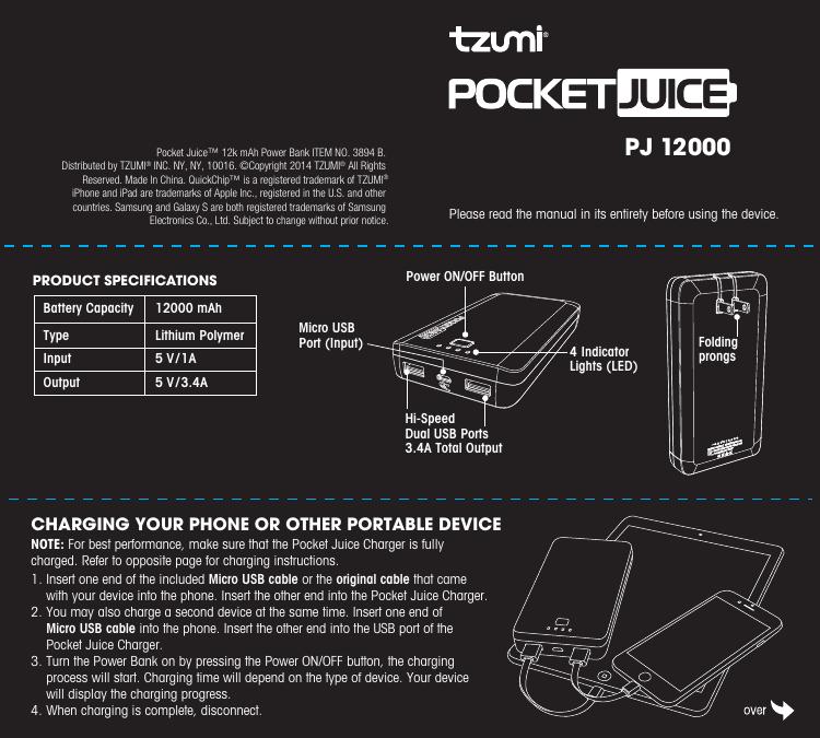 12000 mAh - Tzumi Electronics | manualzz com