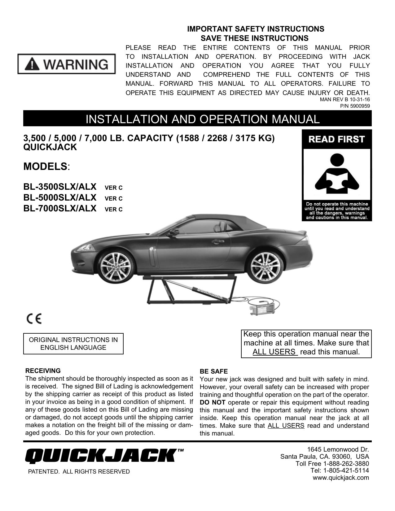 Quickjack Portable Car Lift Manual Manualzz Com
