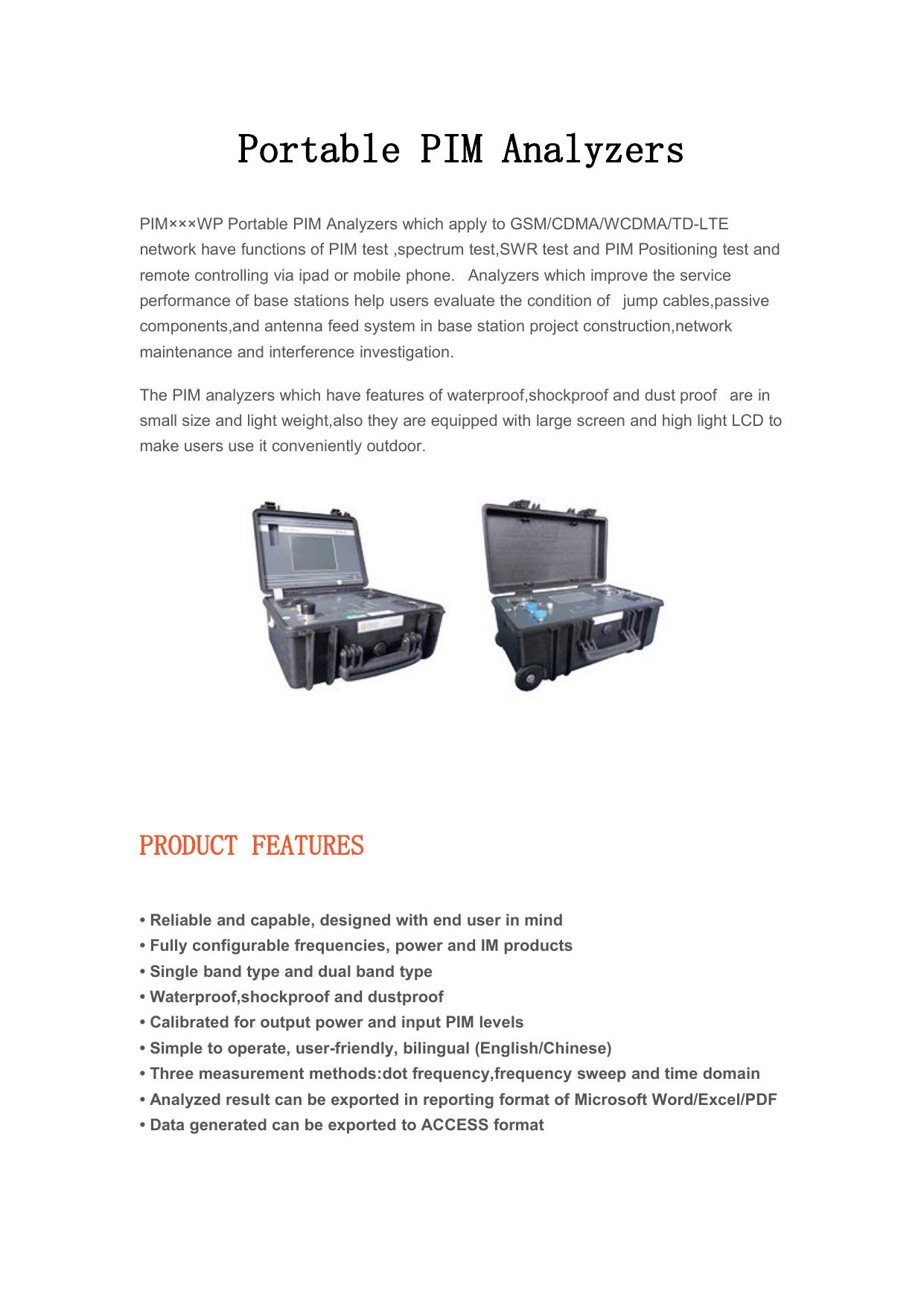 Portable PIM Analyzers | manualzz com