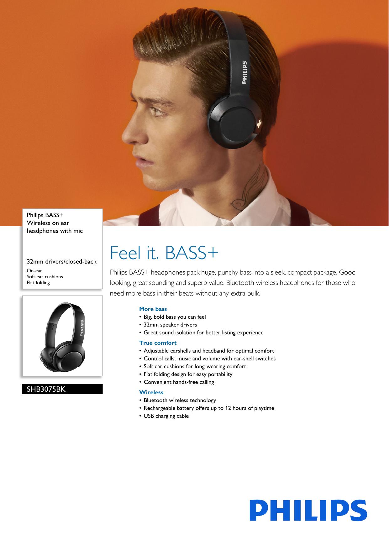 Shb3075bk 00 Philips Wireless On Ear Headphones With Mic Manualzz