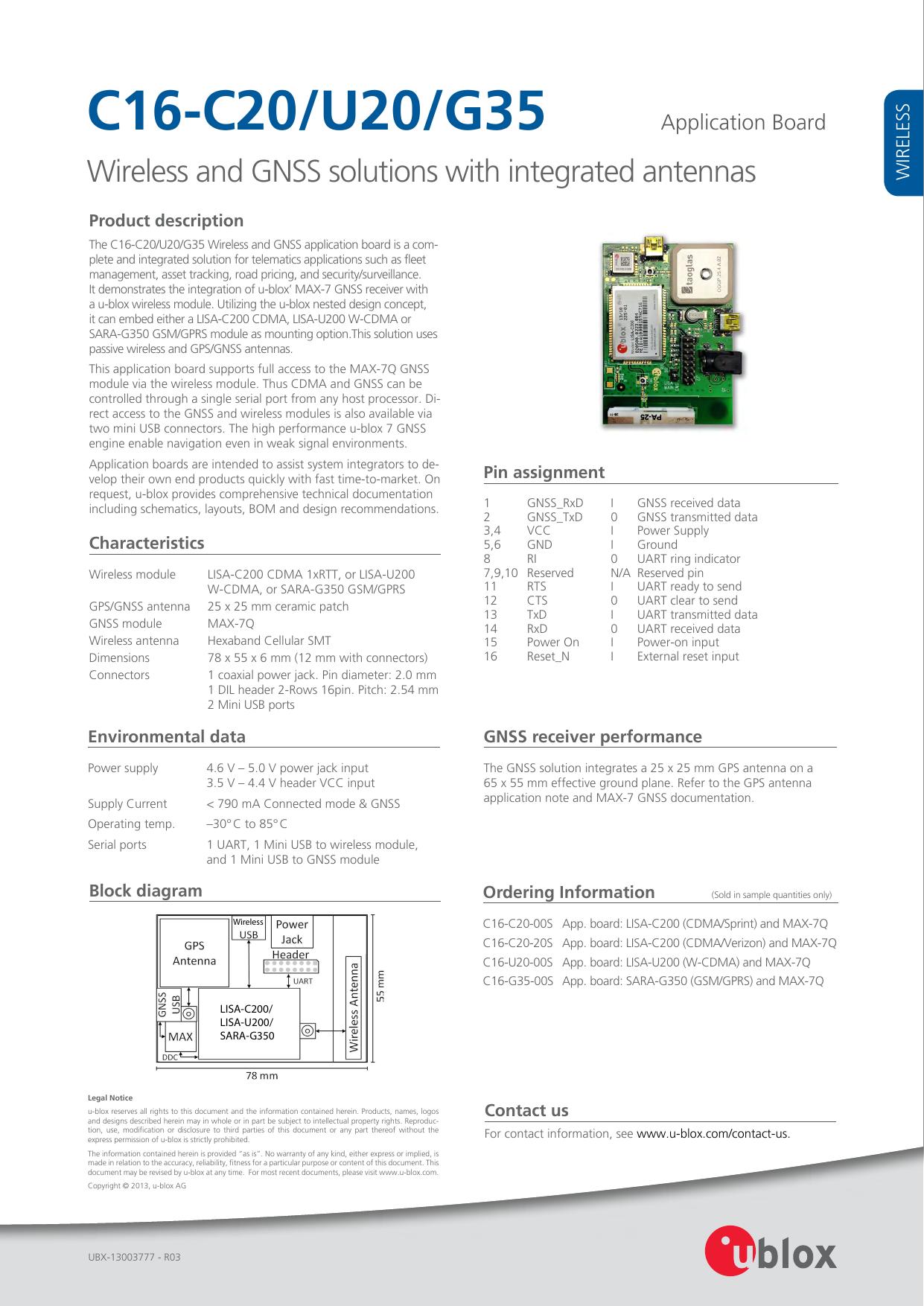 C16-C20/U20/G35 Application Board - u-blox | manualzz com
