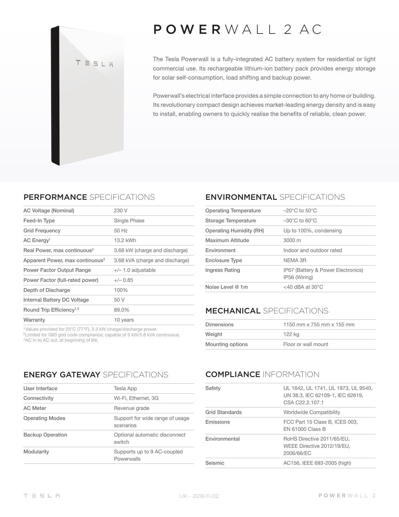 Powerwall 2 AC Datasheet   manualzz com