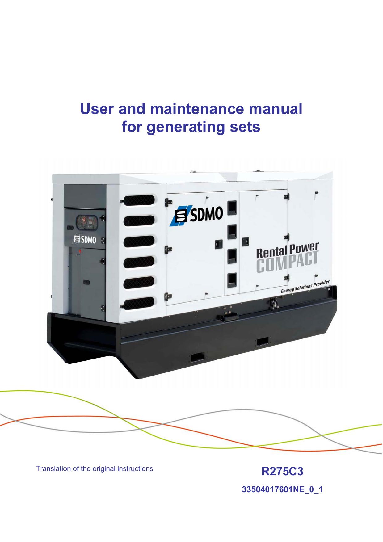 Generating set R275C3 (CE) - User manual | manualzz com