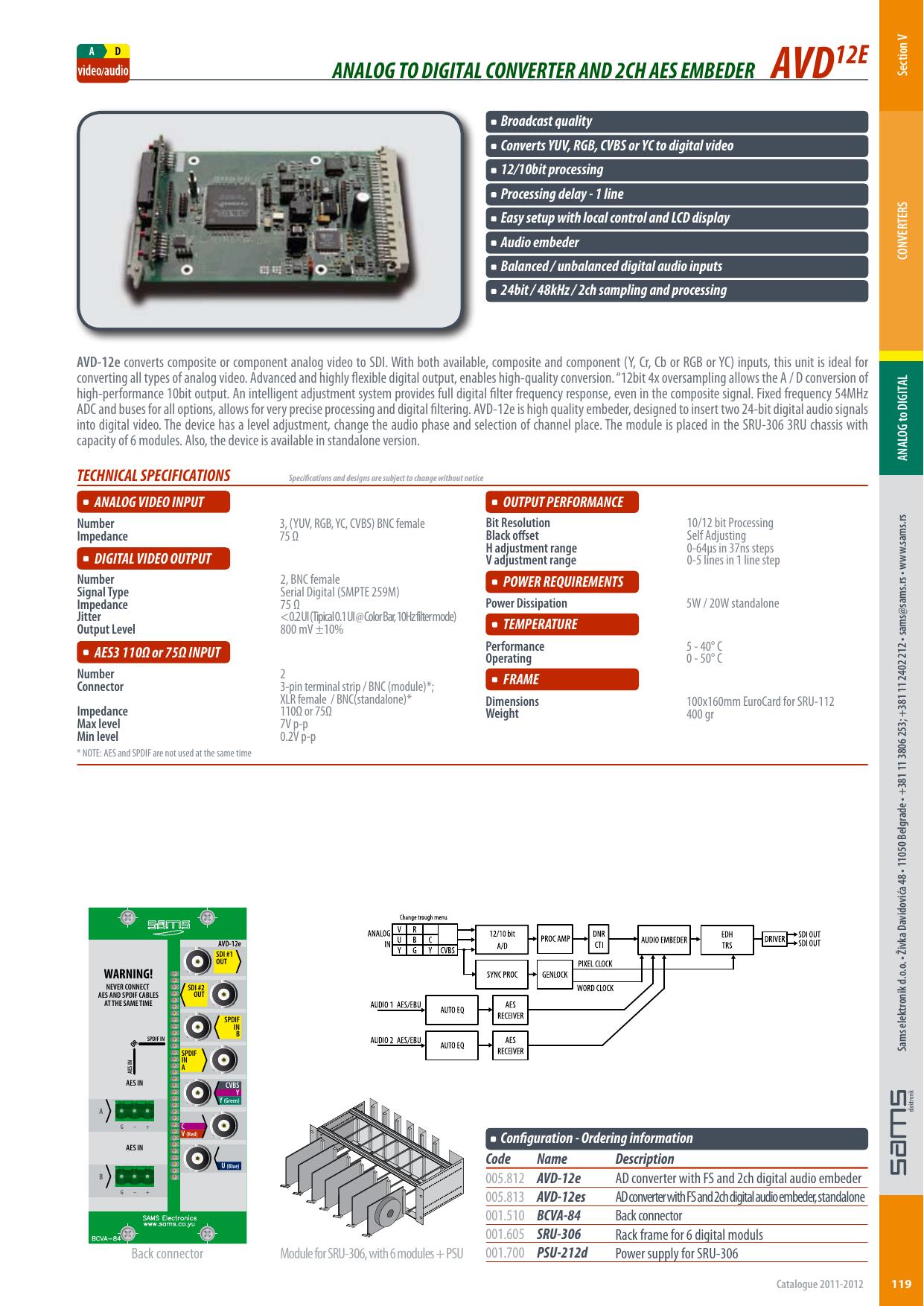analog to digital converter and 2ch aes embeder avd12e | manualzz com