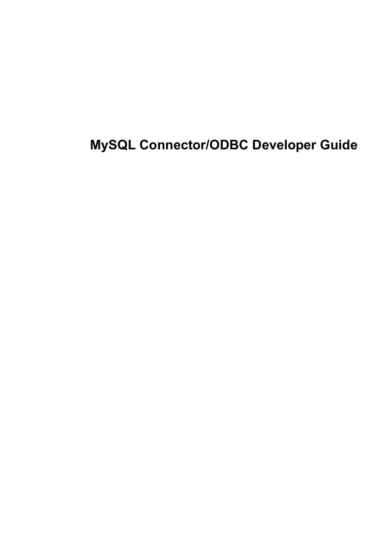 MySQL Connector/ODBC Developer Guide | manualzz com