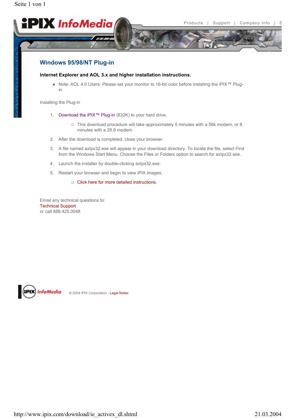 Windows 95/98/NT Plug-in Seite 1 von 1 21 03 2004 http://www ipix