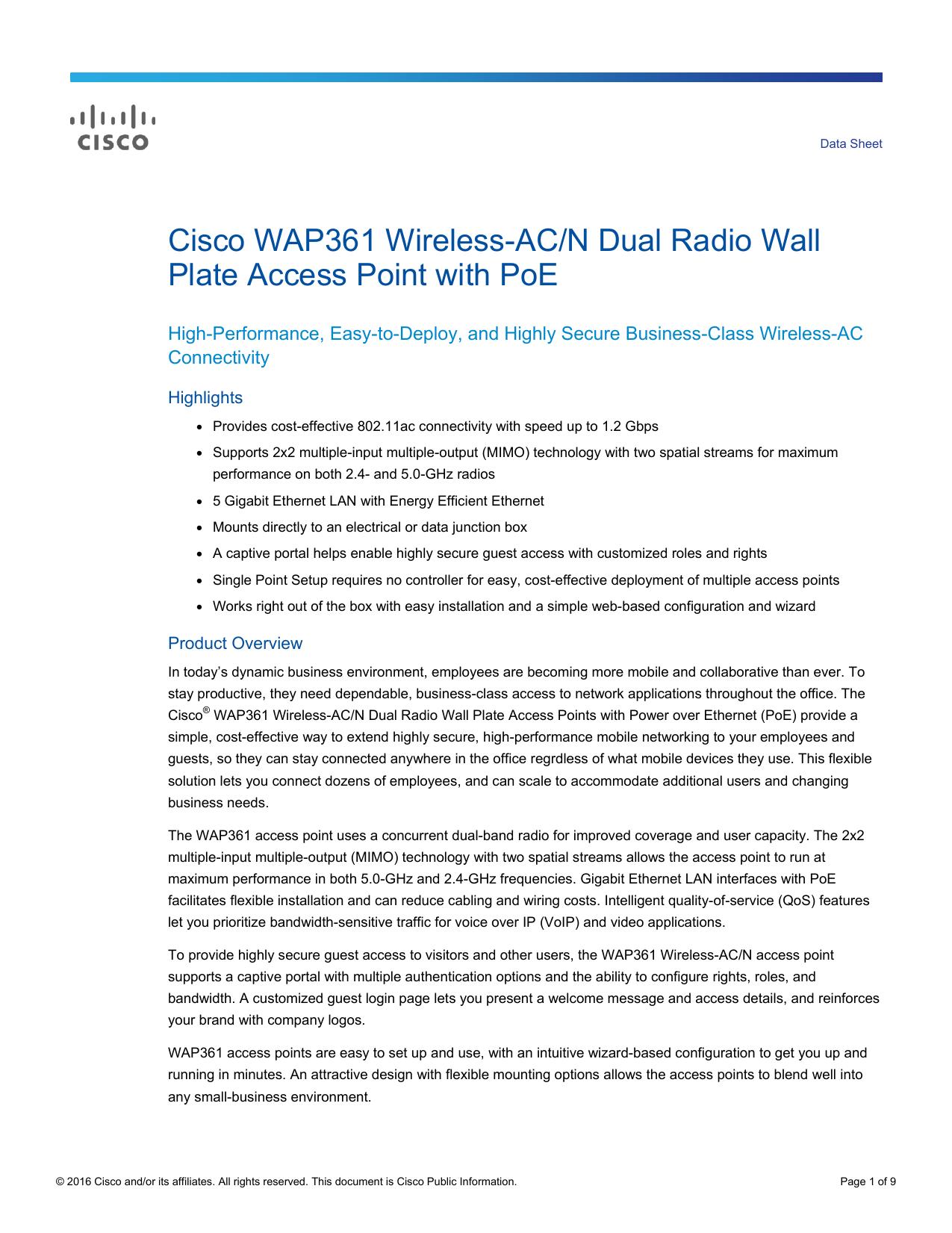 Cisco WAP361 Wireless-AC/N Dual Radio Wall Plate Access