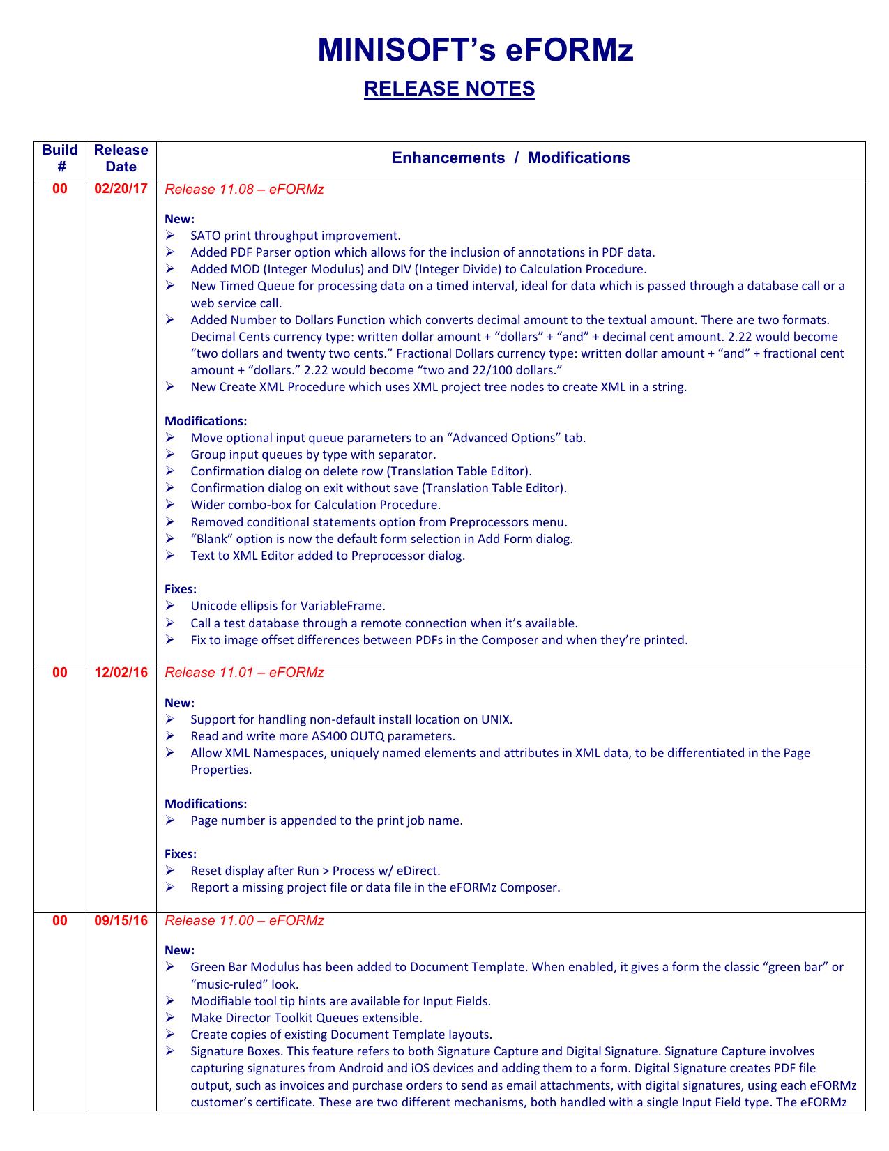 eFORMz Update - Minisoft Support | manualzz com