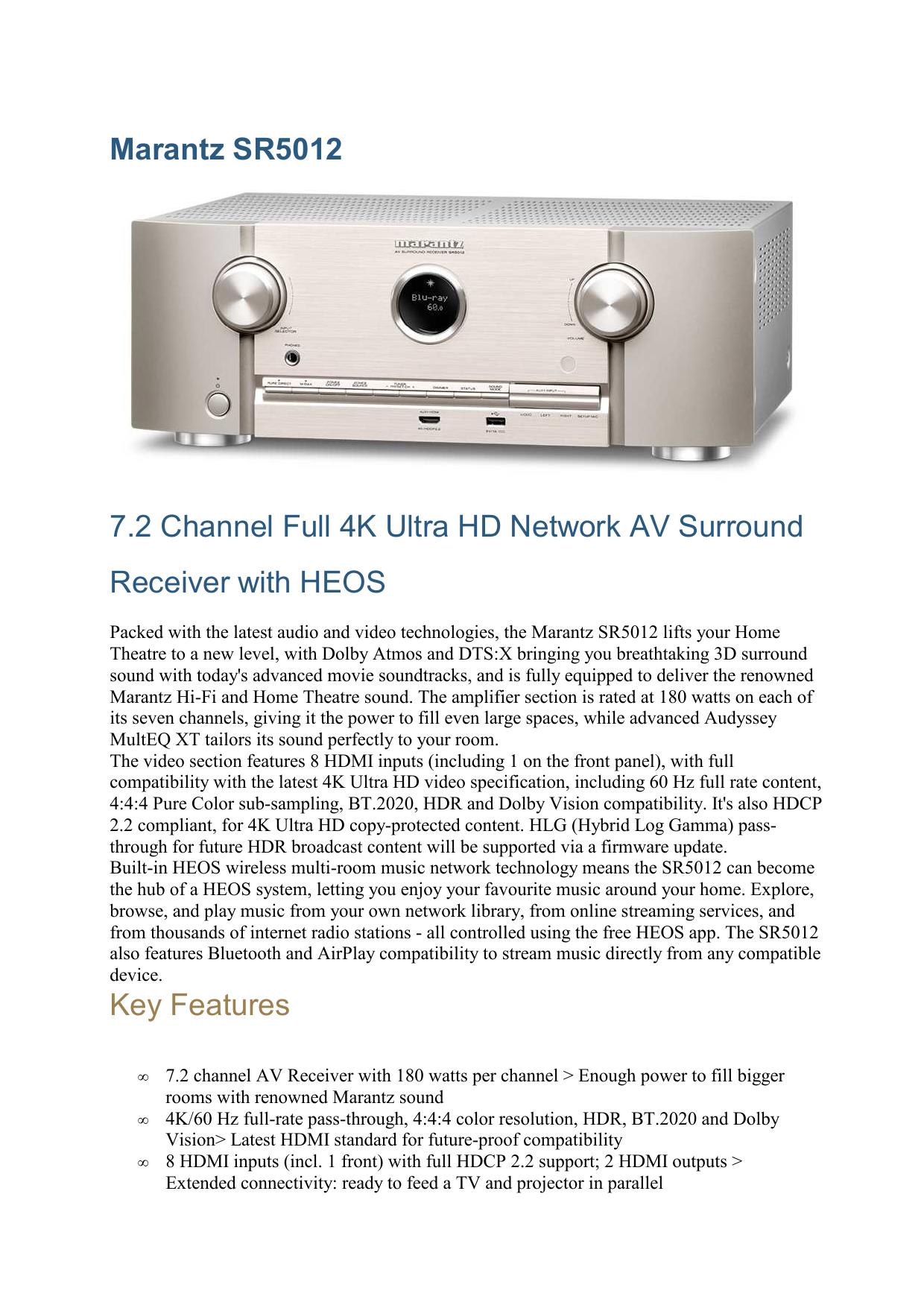 Marantz SR5012 7 2 Channel Full 4K Ultra HD Network AV | manualzz com