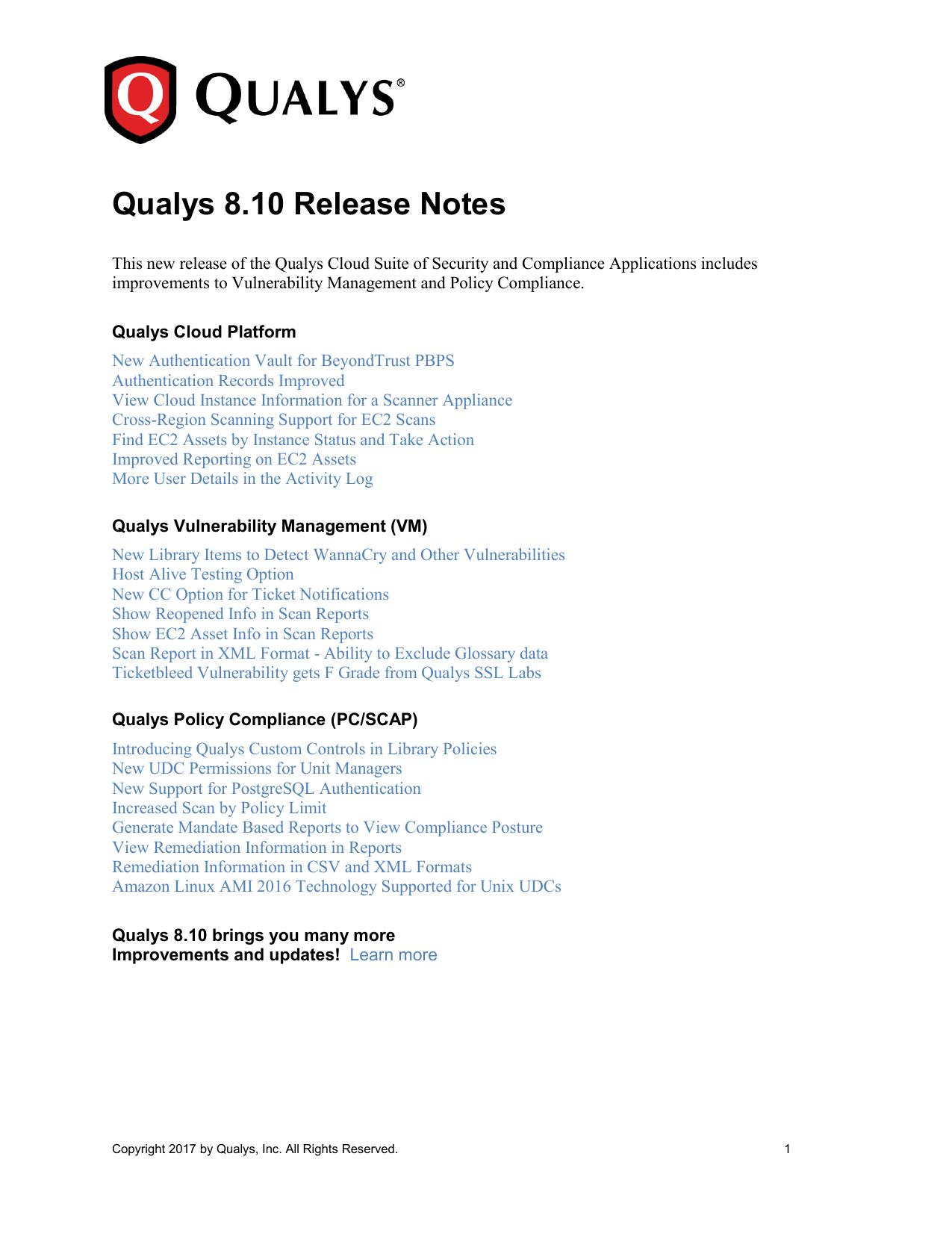 qualysr release notes manualzzcom