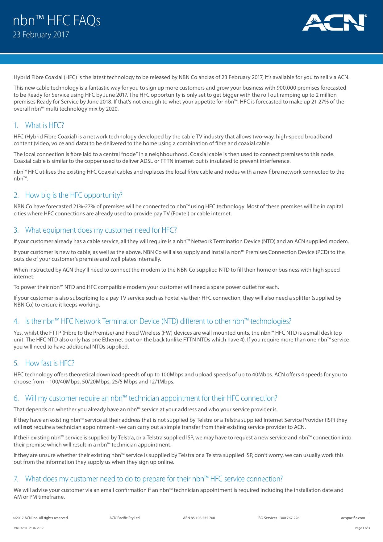 nbn™ HFC FAQs   manualzz com