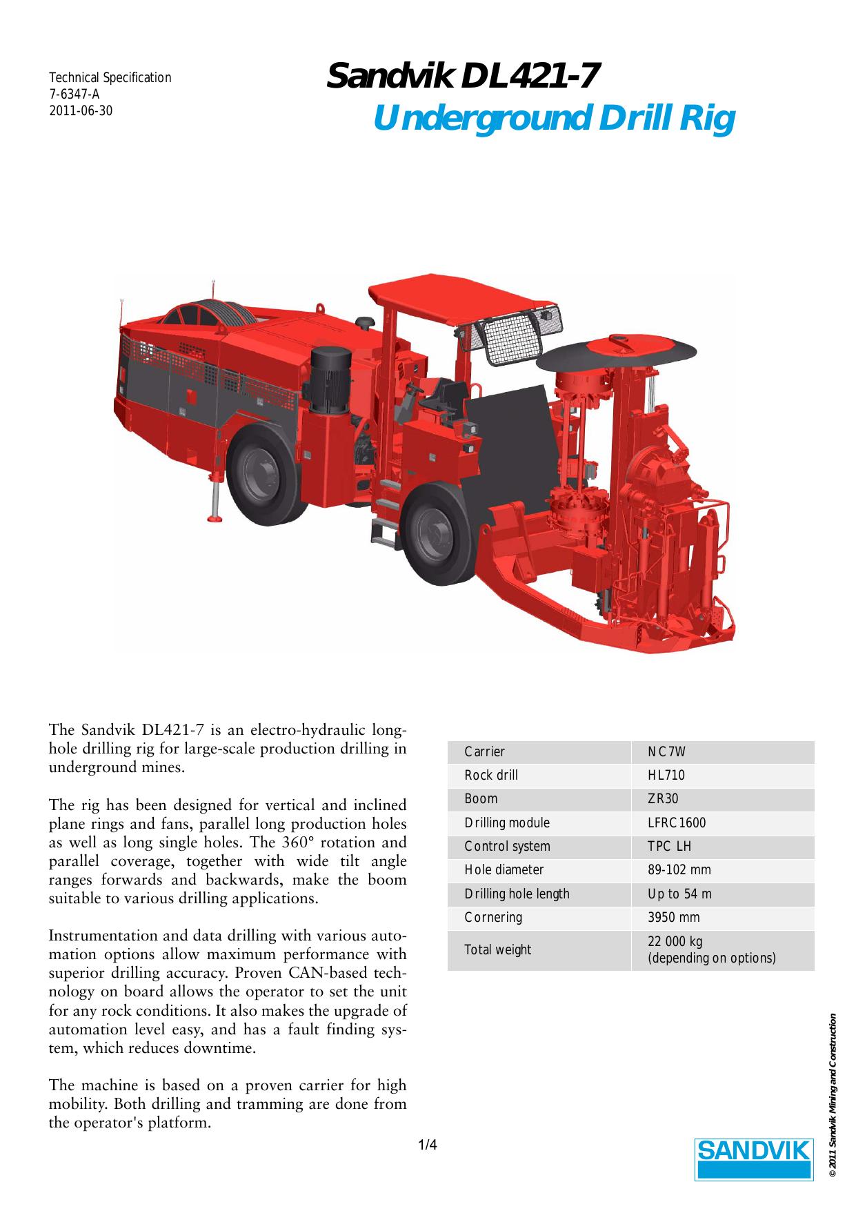 Sandvik DL421-7 Underground Drill Rig | manualzz com