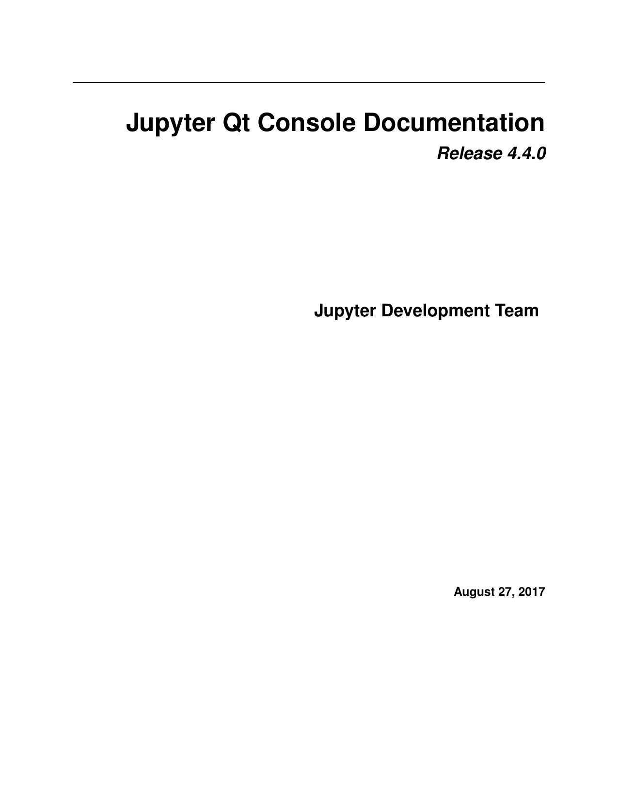 Jupyter Qt Console Documentation   manualzz com