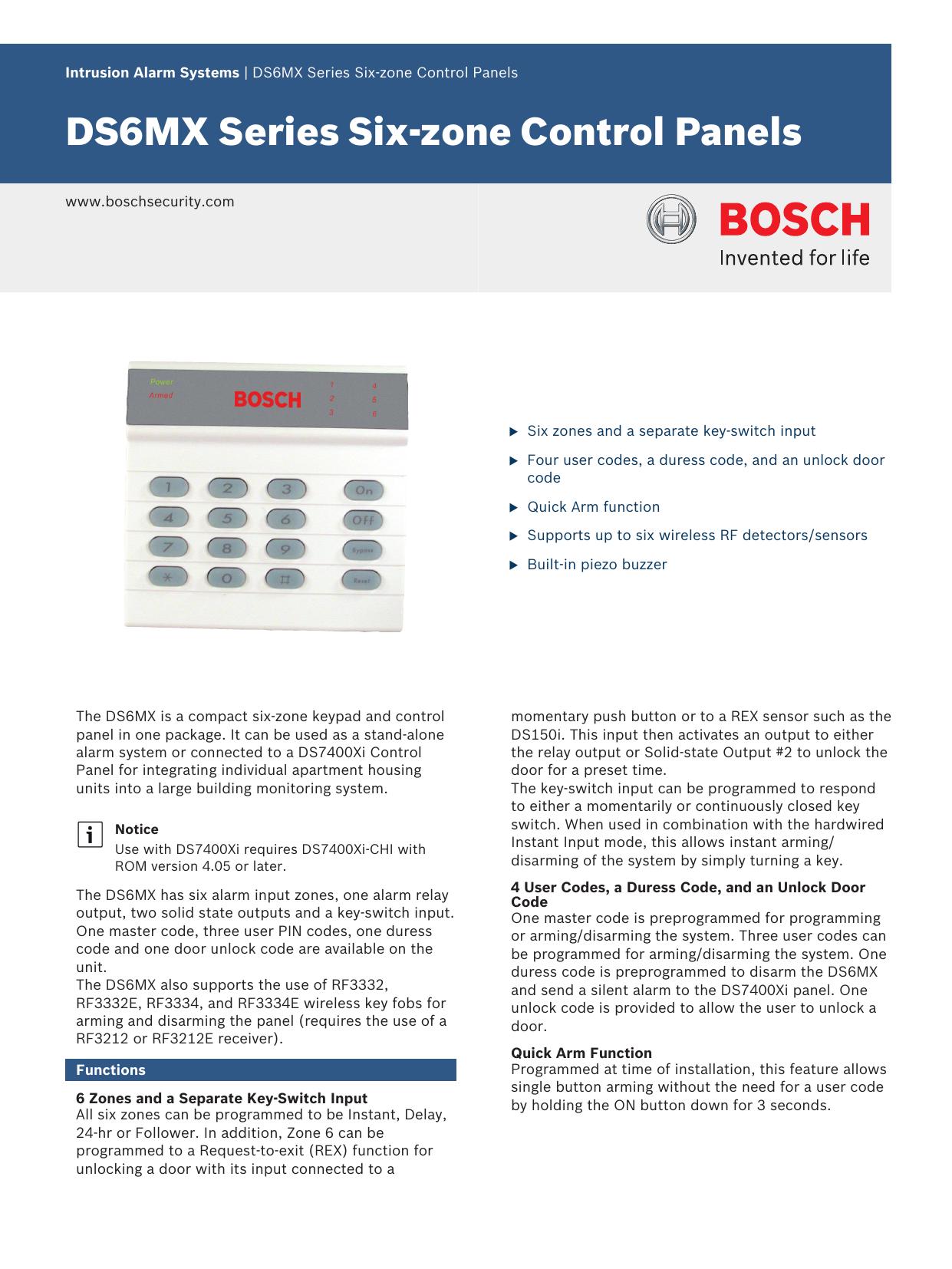 DS6MX Series Six-zone Control Panels | manualzz com