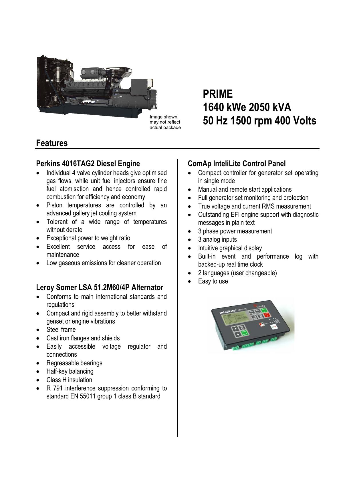 PRIME 1640 kWe 2050 kVA 50 Hz 1500 rpm 400 Volts | manualzz com