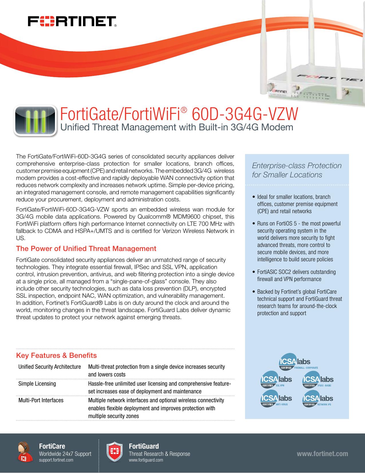 FortiGate/FortiWiFi® 60D-3G4G-VZW | manualzz com