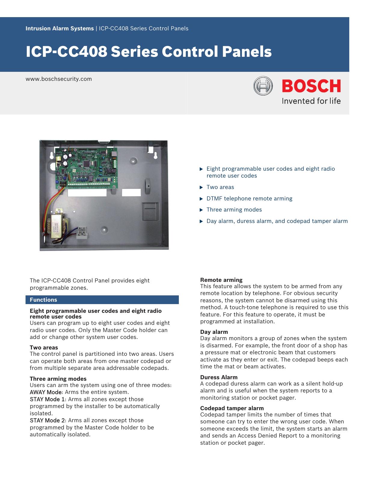 ICP‑CC408 Series Control Panels | manualzz com