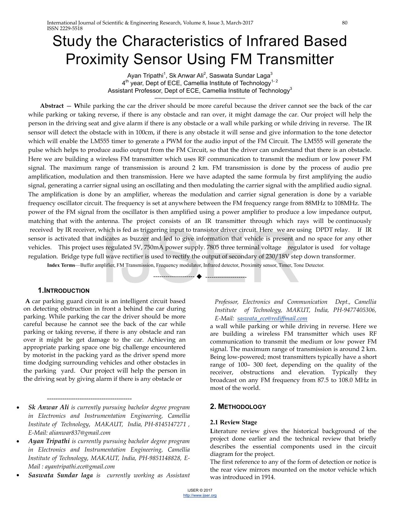 Study The Characteristics Of Infrared Based Proximity Sensor Circuits