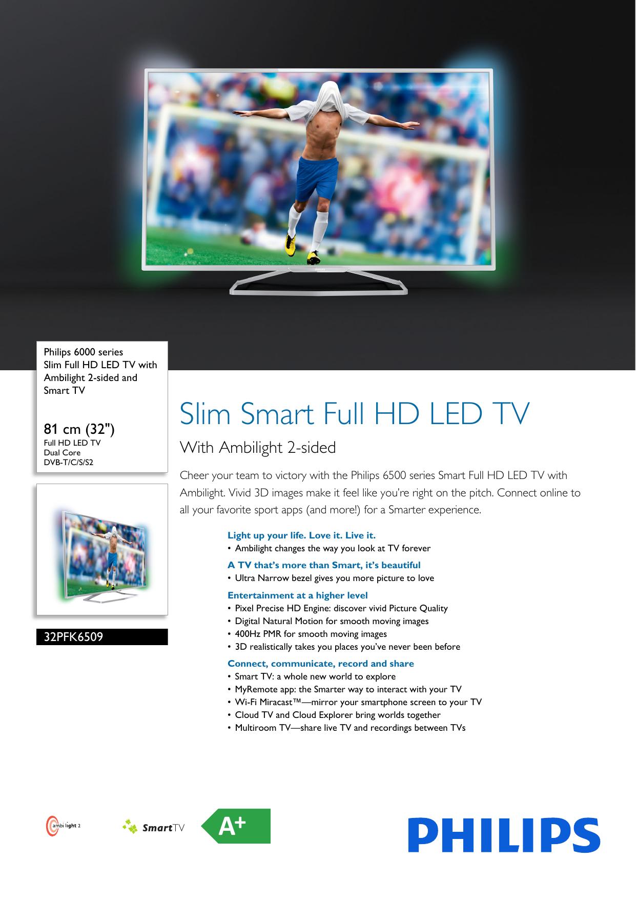 32PFK6509/12 Philips Slim Full HD LED TV with | manualzz com