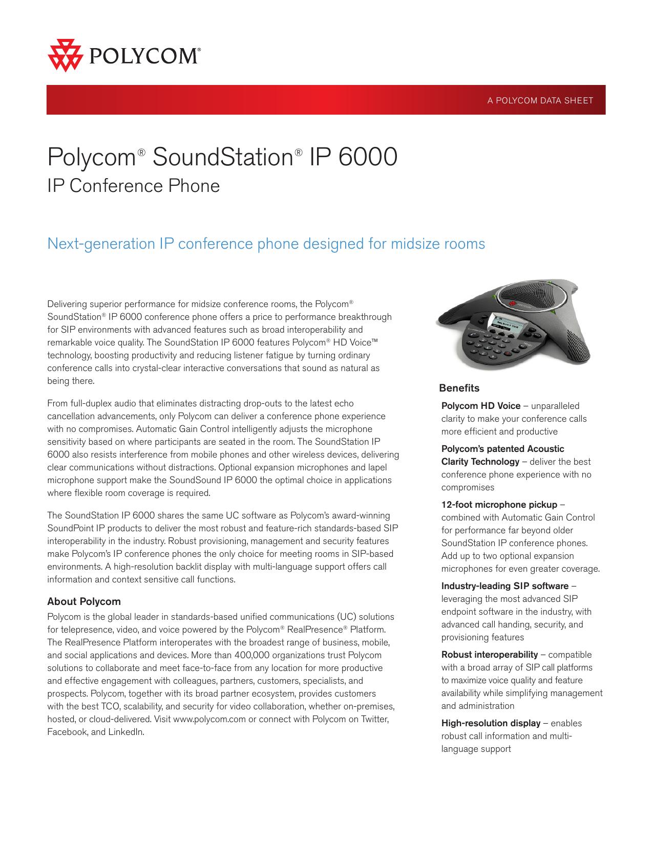 Polycom® SoundStation® IP 6000 - Preferred   manualzz com