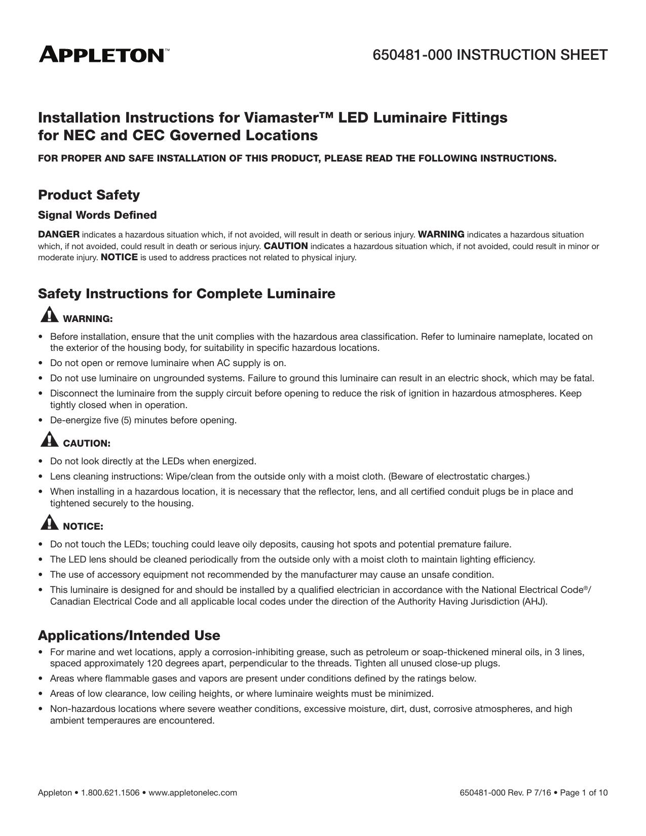 NEC and CEC Viamaster™ LED Series Luminaires | manualzz com