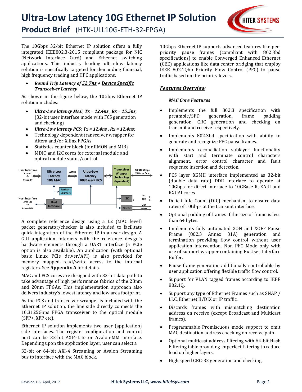 Ultra-Low Latency 10G Ethernet IP Solution | manualzz com