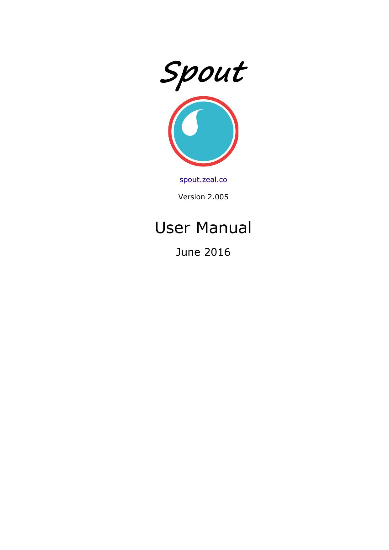 Spout User Manual | manualzz com