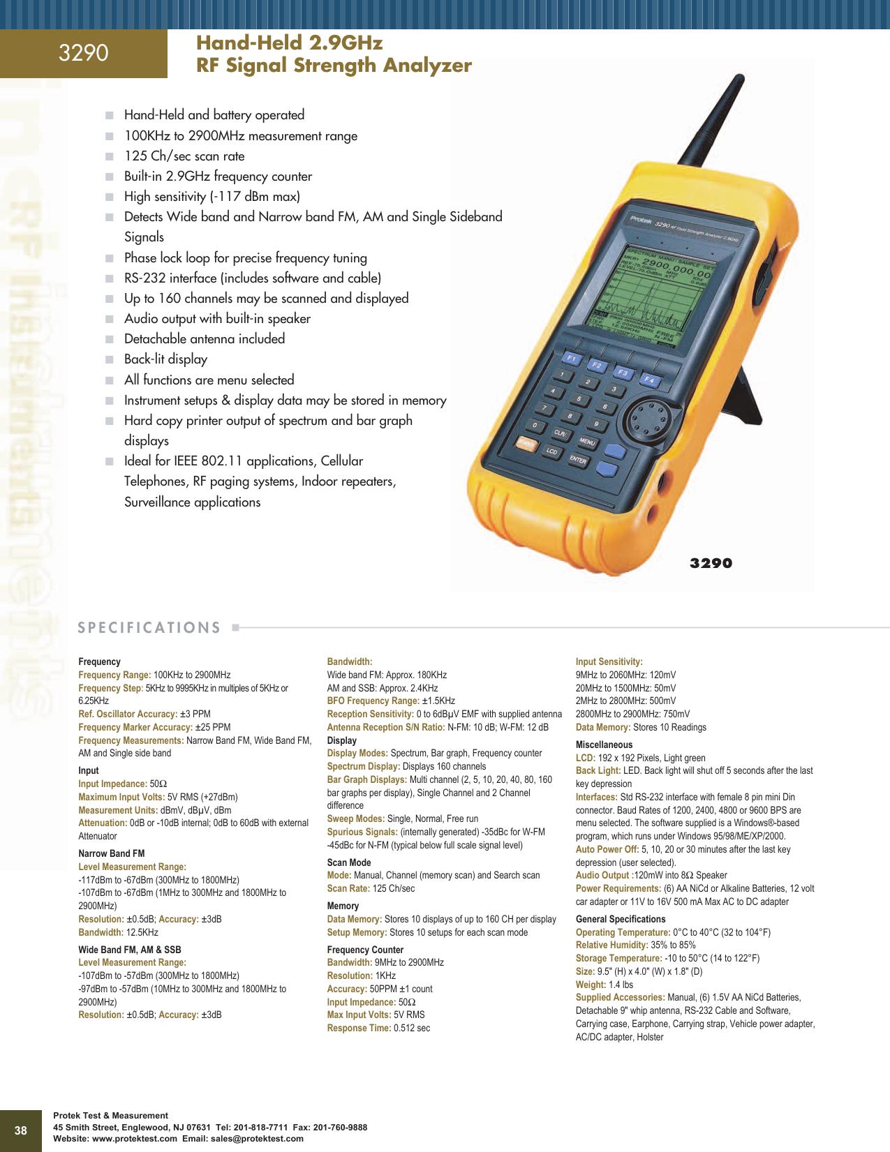 Hand-Held 2 9GHz RF Signal Strength Analyzer | manualzz com