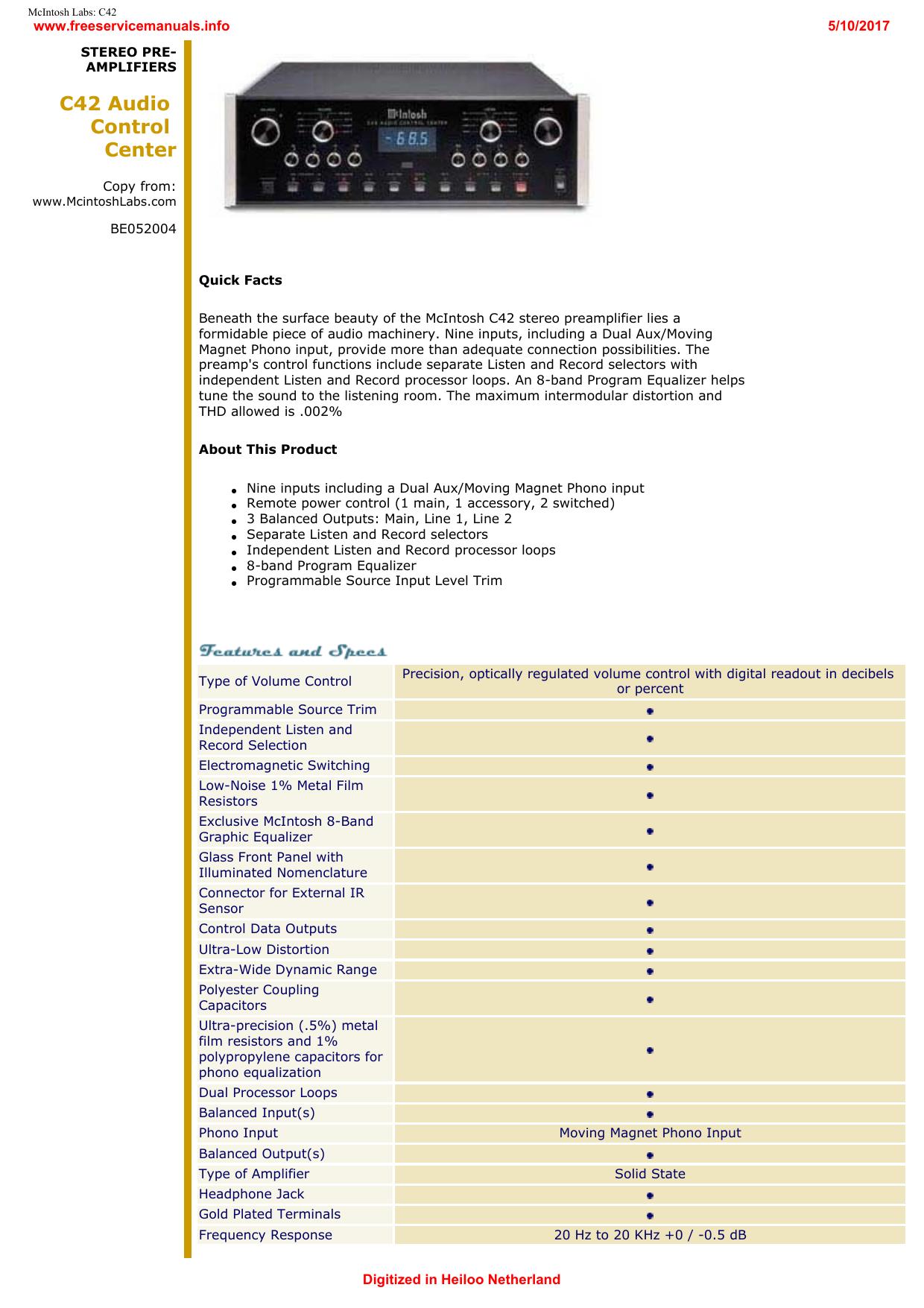 McIntosh Labs: C42 - Free Service Manuals | manualzz com