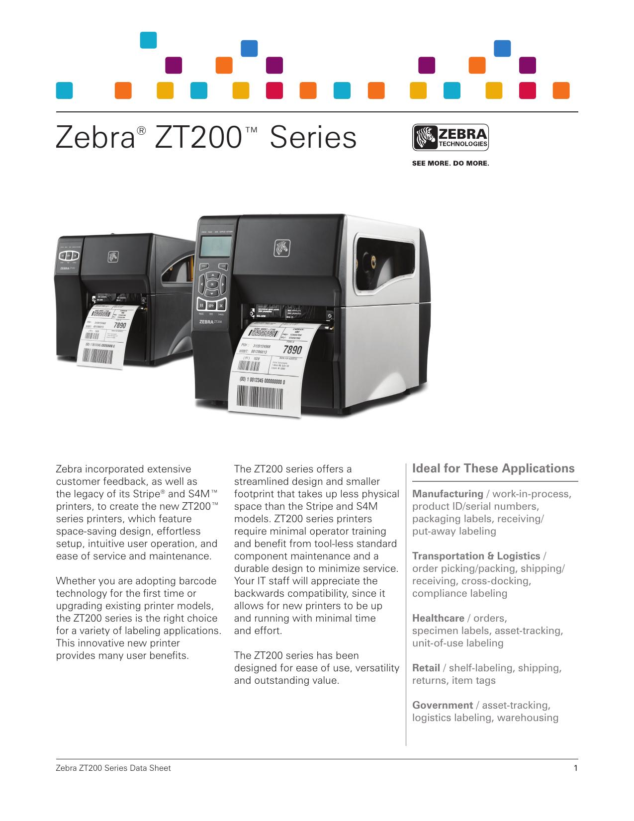 Zebra® ZT200™ Series - ReThink Label Systems   manualzz com