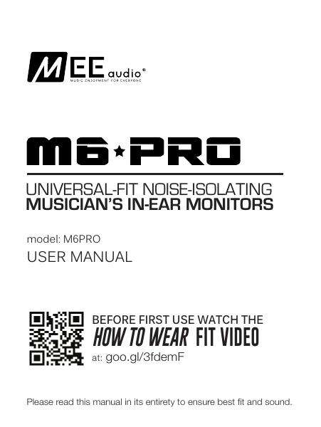 M6 PRO Musician`s In-Ear Monitor User Manual | manualzz com