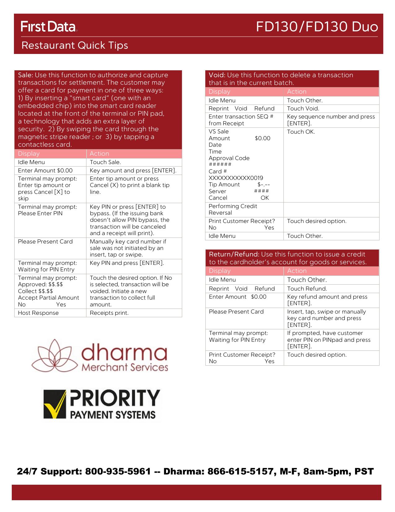 FD130/FD130 Duo - Dharma Merchant Services | manualzz com