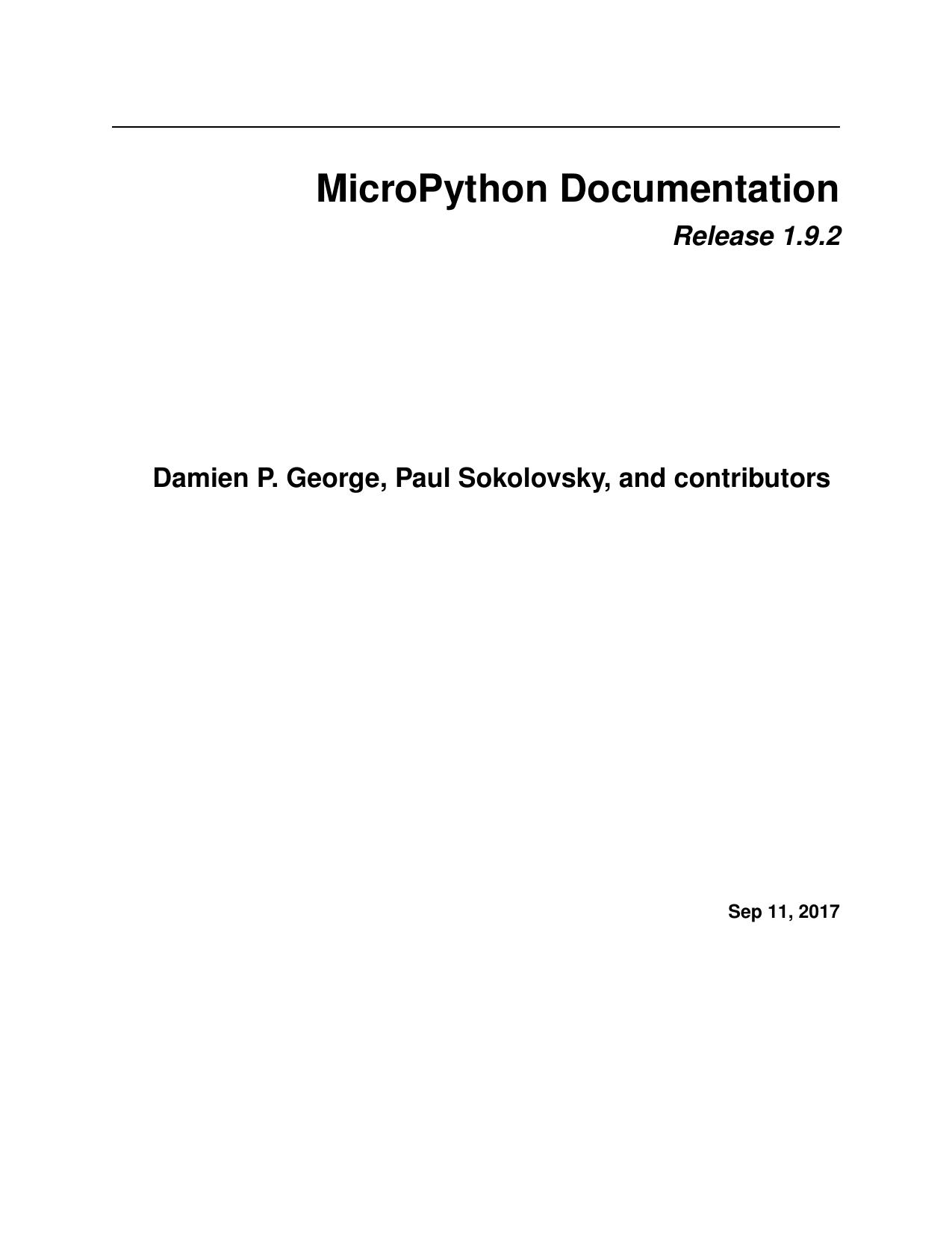 MicroPython Documentation | manualzz com