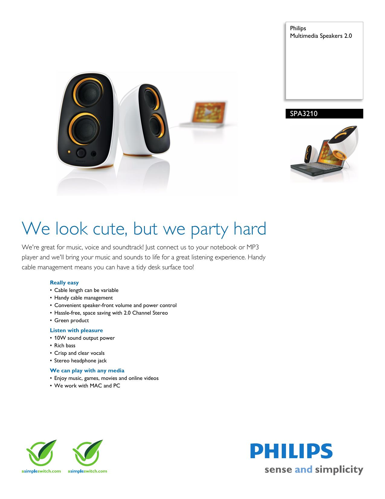 SPA3210/27 Philips Multimedia Speakers 2 0   manualzz com