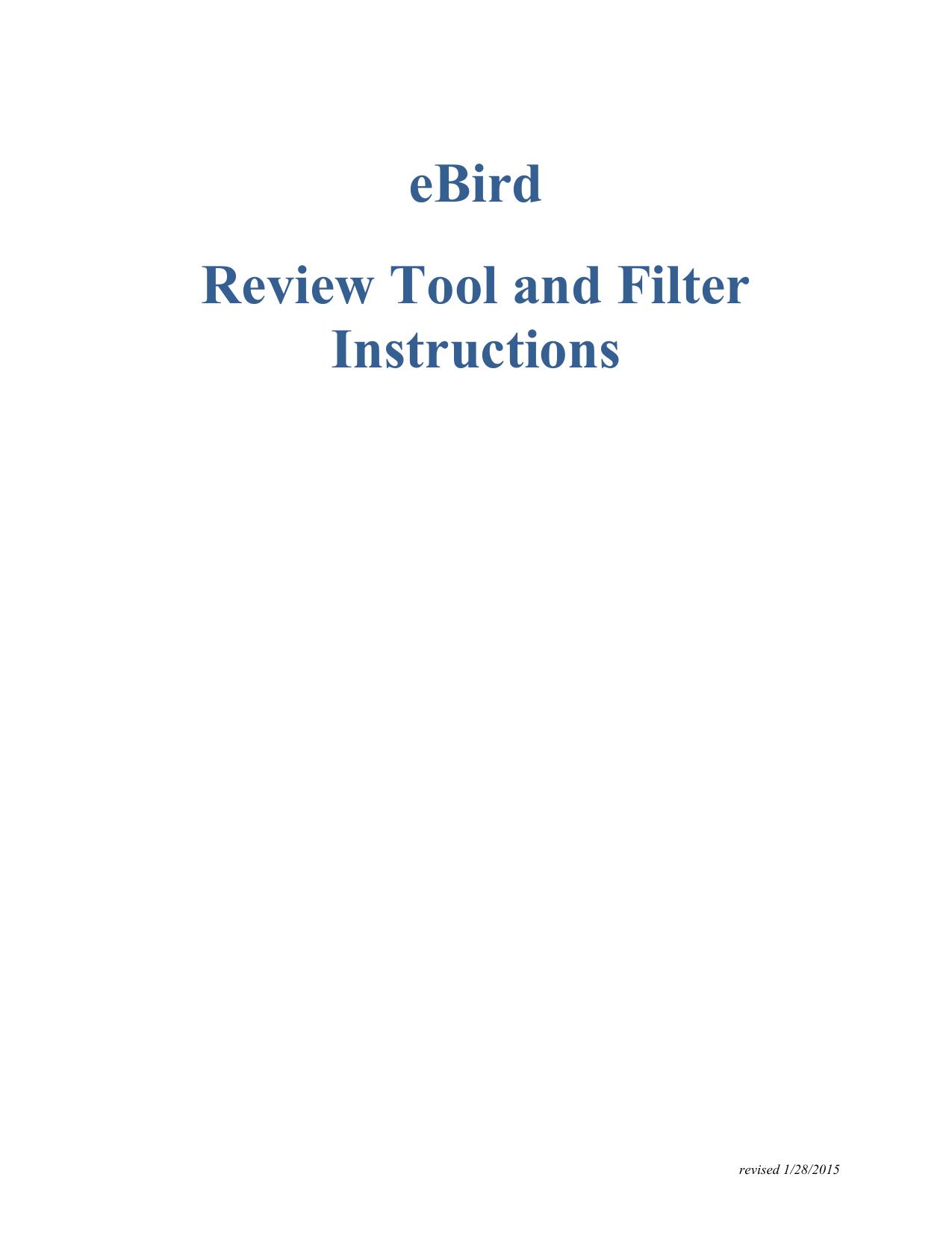 eBird Review Tool and Filter Instructions | manualzz com
