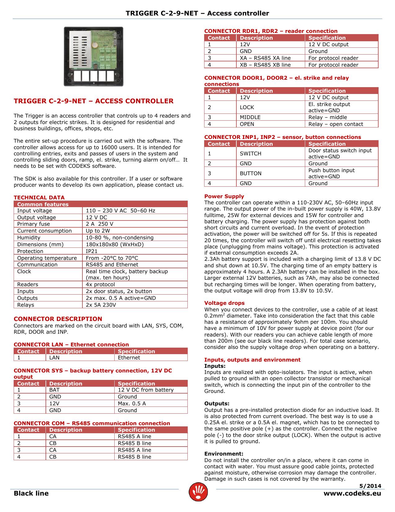 Trigger C 2 9 Net Access Controller 12v Battery Backup Circuit