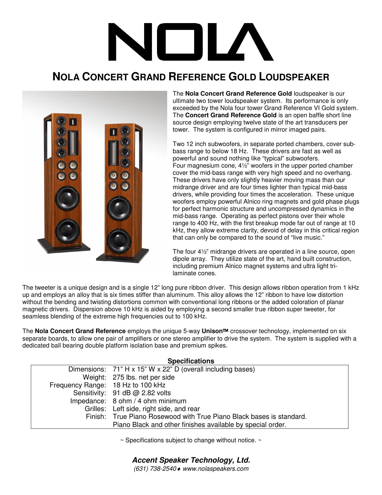 nola concert grand reference gold loudspeaker | manualzz com