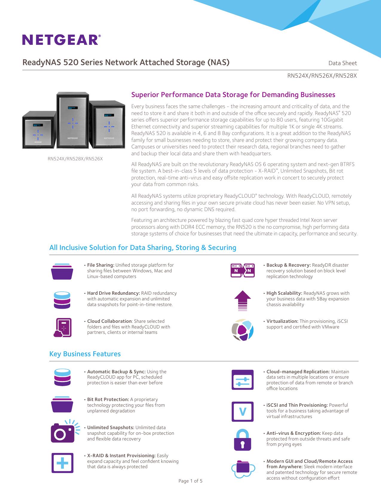 ReadyNAS 520 Series Network Attached Storage (NAS