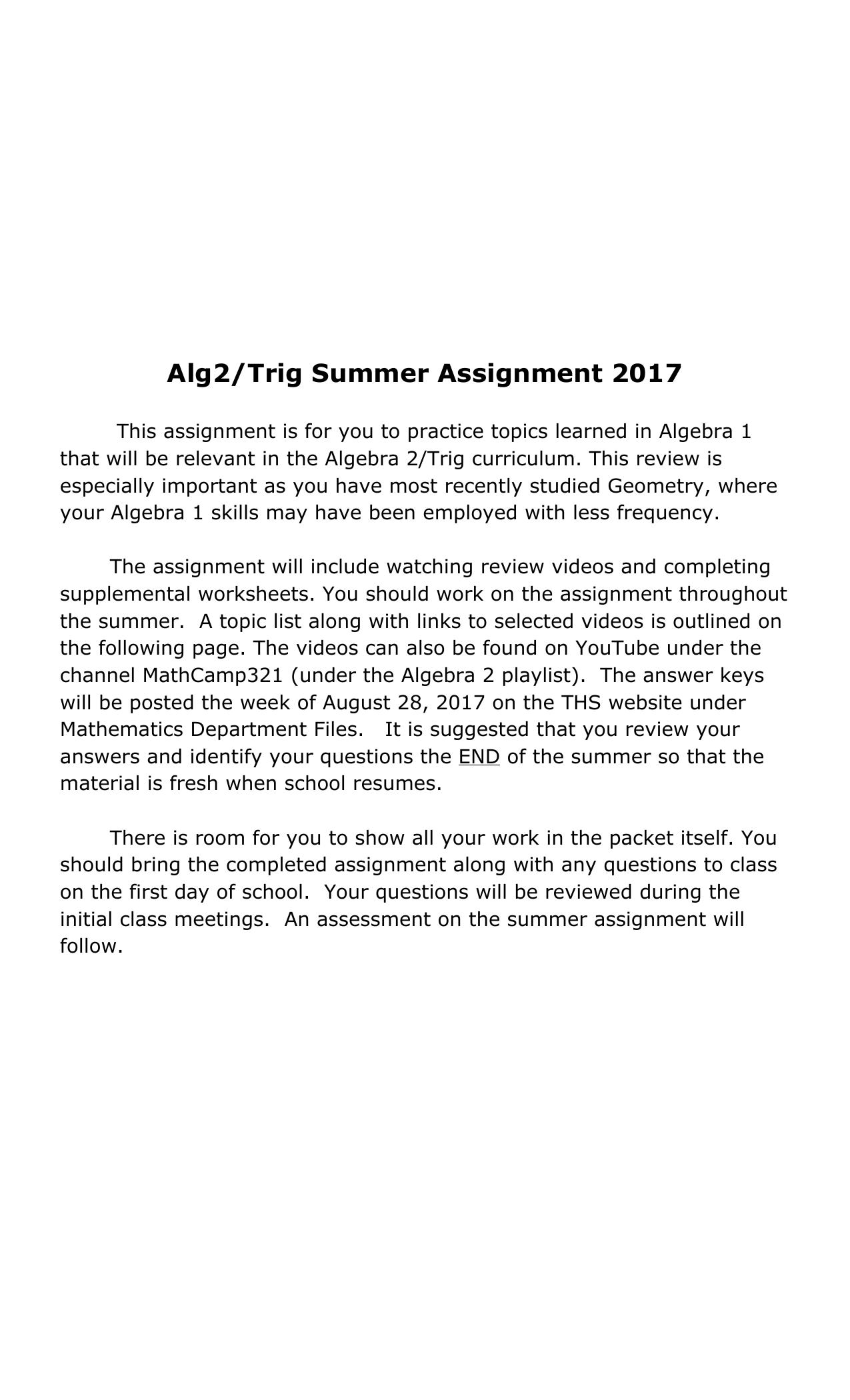 Alg2/Trig Summer Assignment 2017 | manualzz com