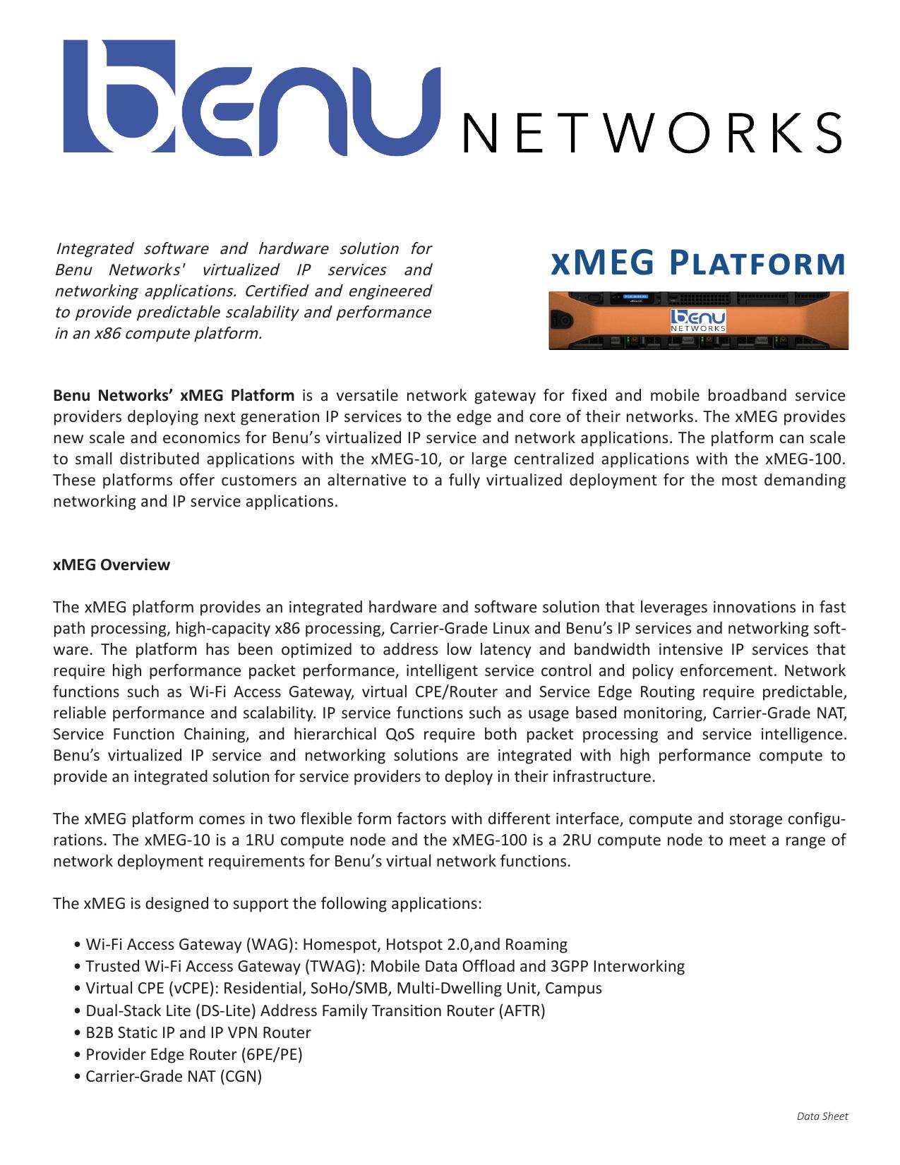xMEG Platform - Benu Networks | manualzz com
