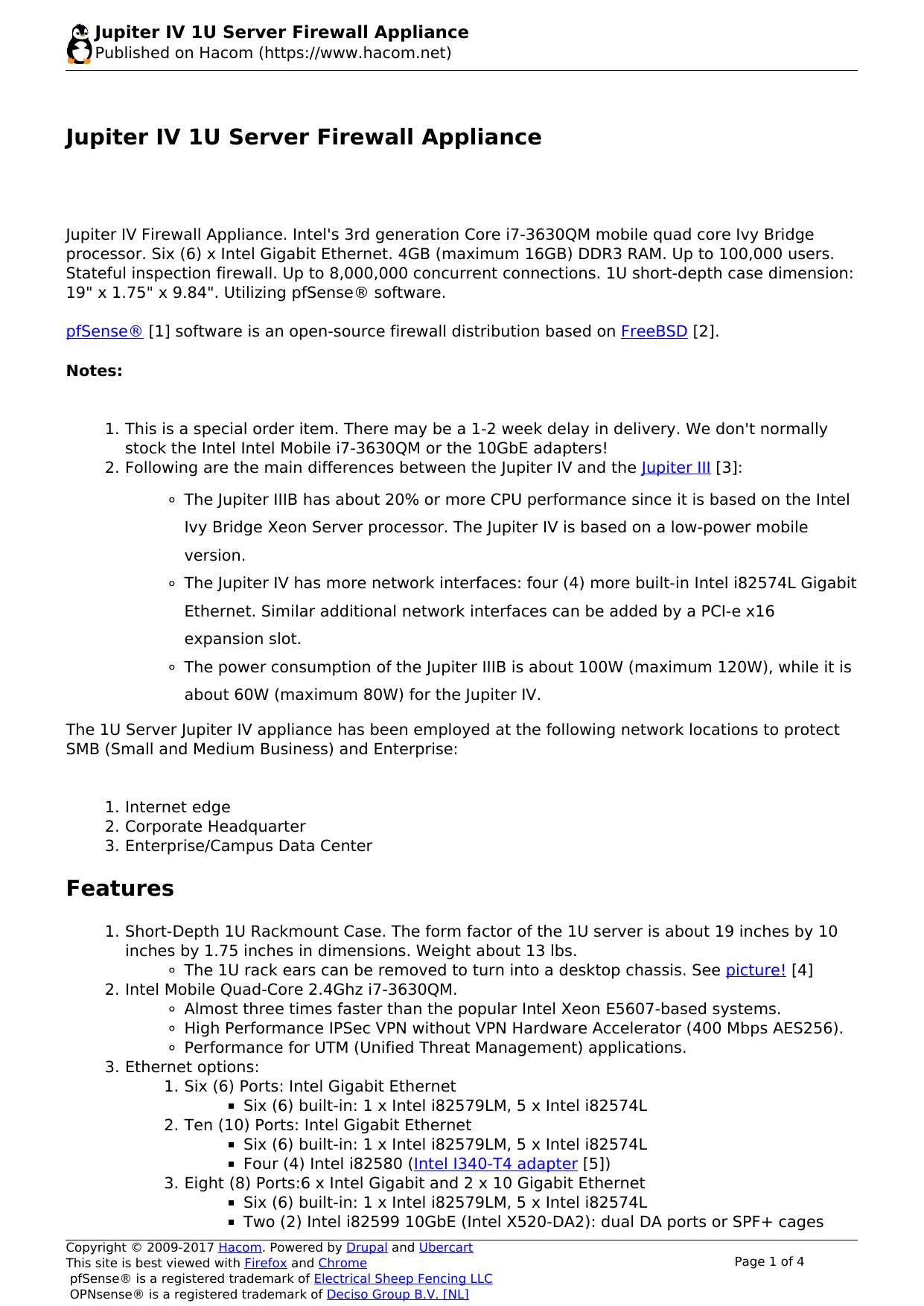 Jupiter IV 1U Server Firewall Appliance | manualzz com