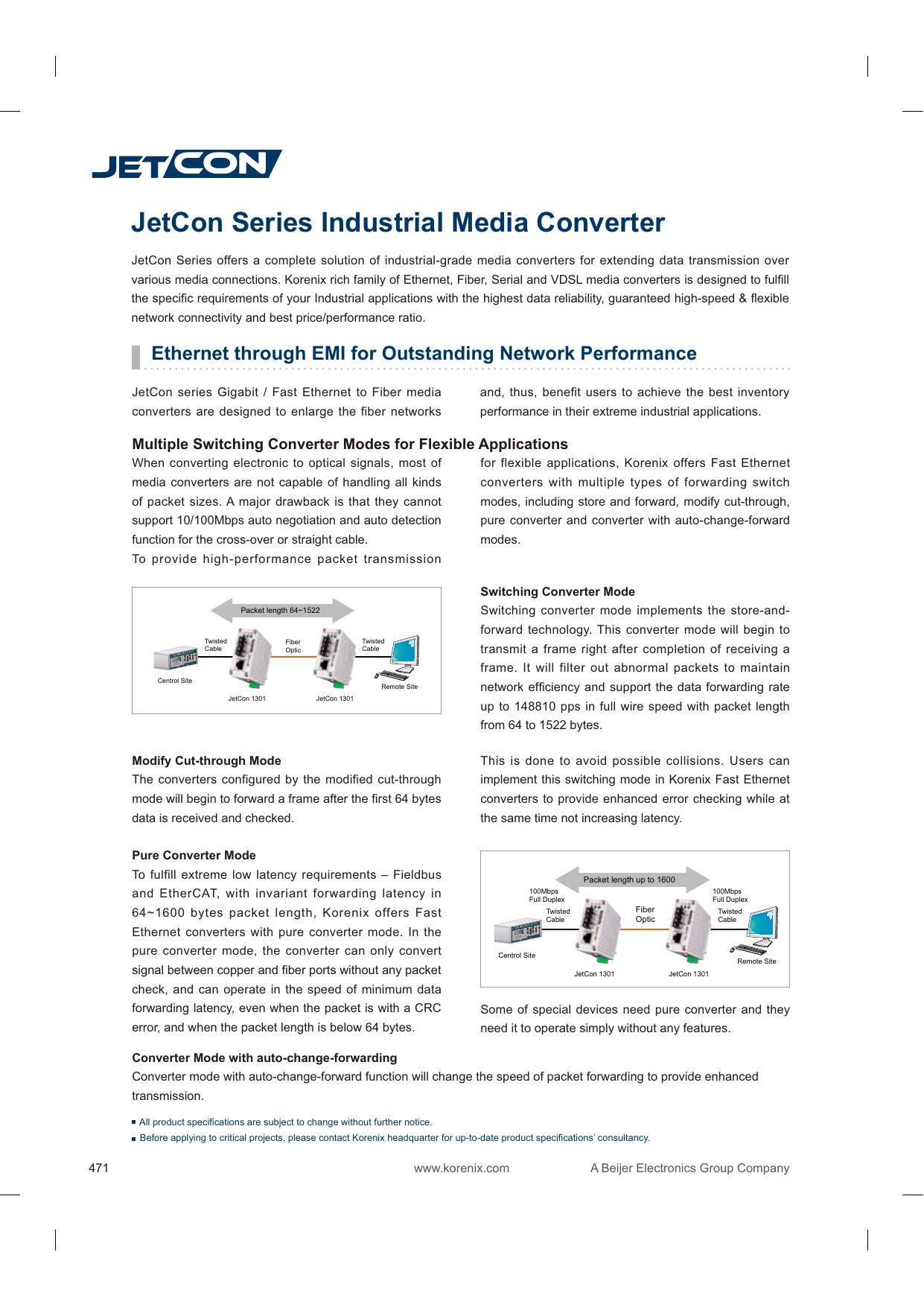 Korenix JetCon 1 port 1301-M 10//100TX Plus 100FX Converter SC Multi mode 2KM