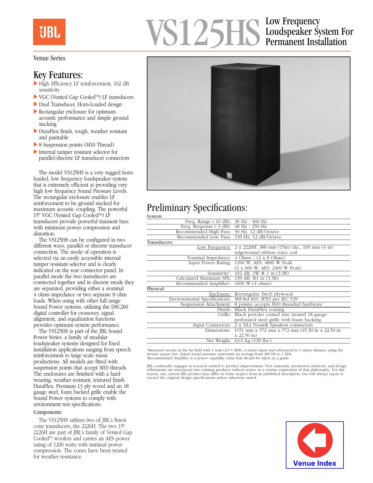 VS125HS Specification Document | manualzz com