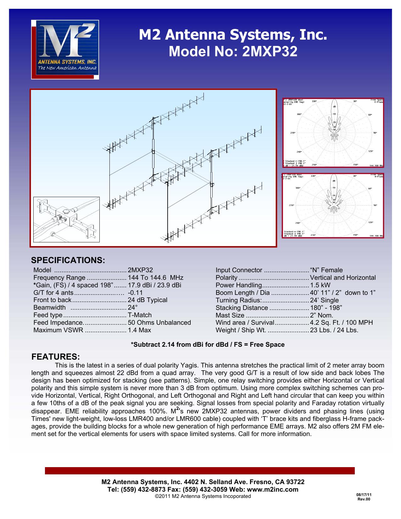 M2 Antenna Systems, Inc  Model No: 2MXP32 | manualzz com