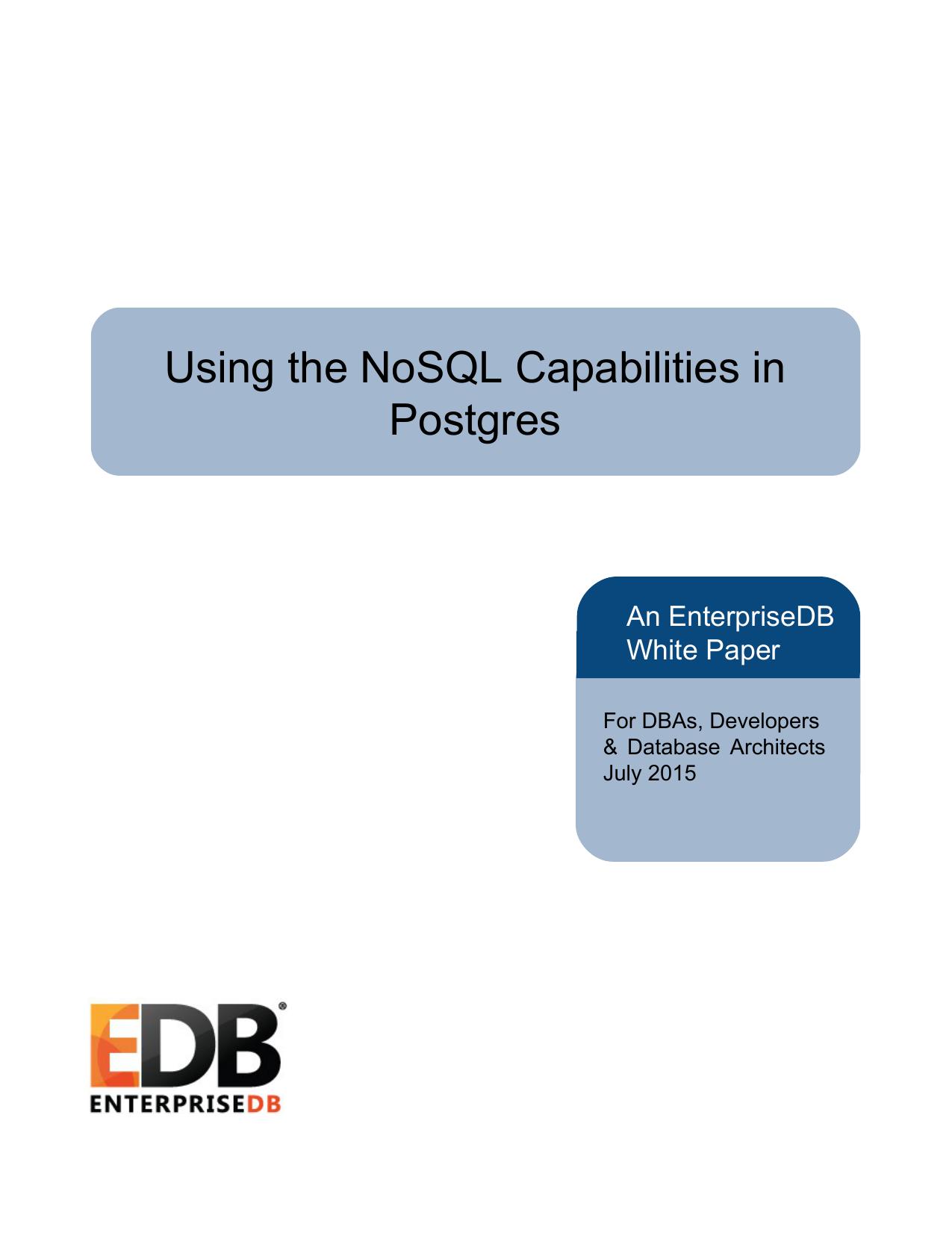 Using the NoSQL Capabilities in Postgres | manualzz com