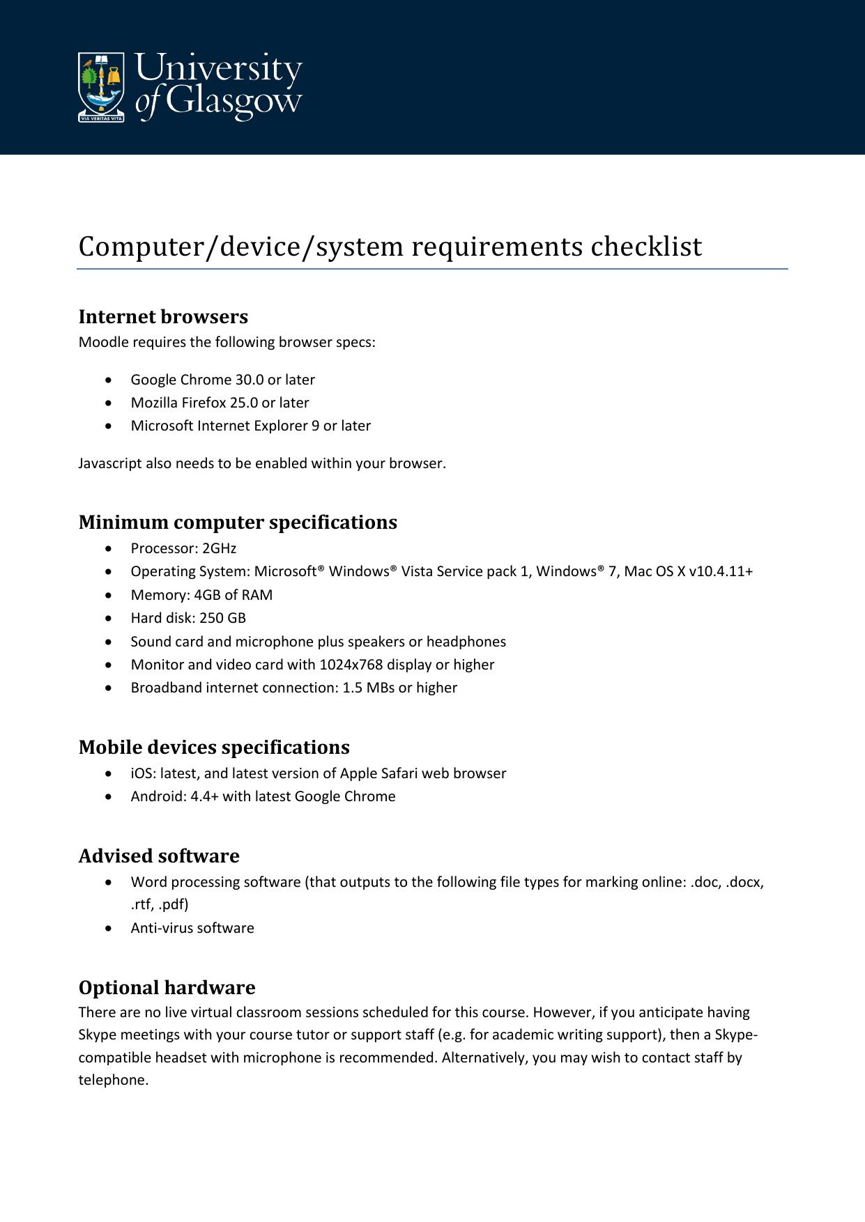 Computer/device/system requirements checklist   manualzz com