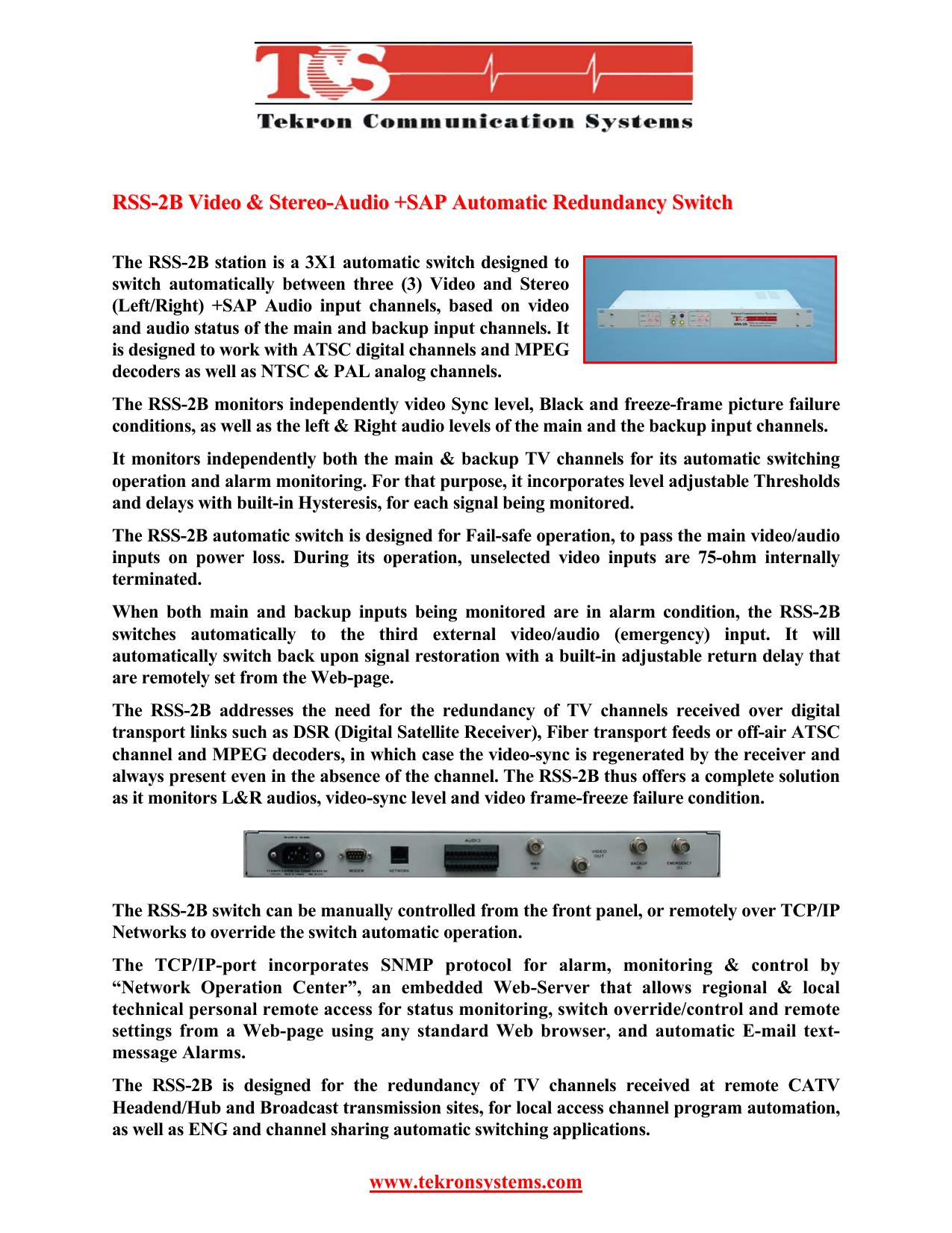 RSS-2B Video-stereoAudio+SAP auto-switch | manualzz com