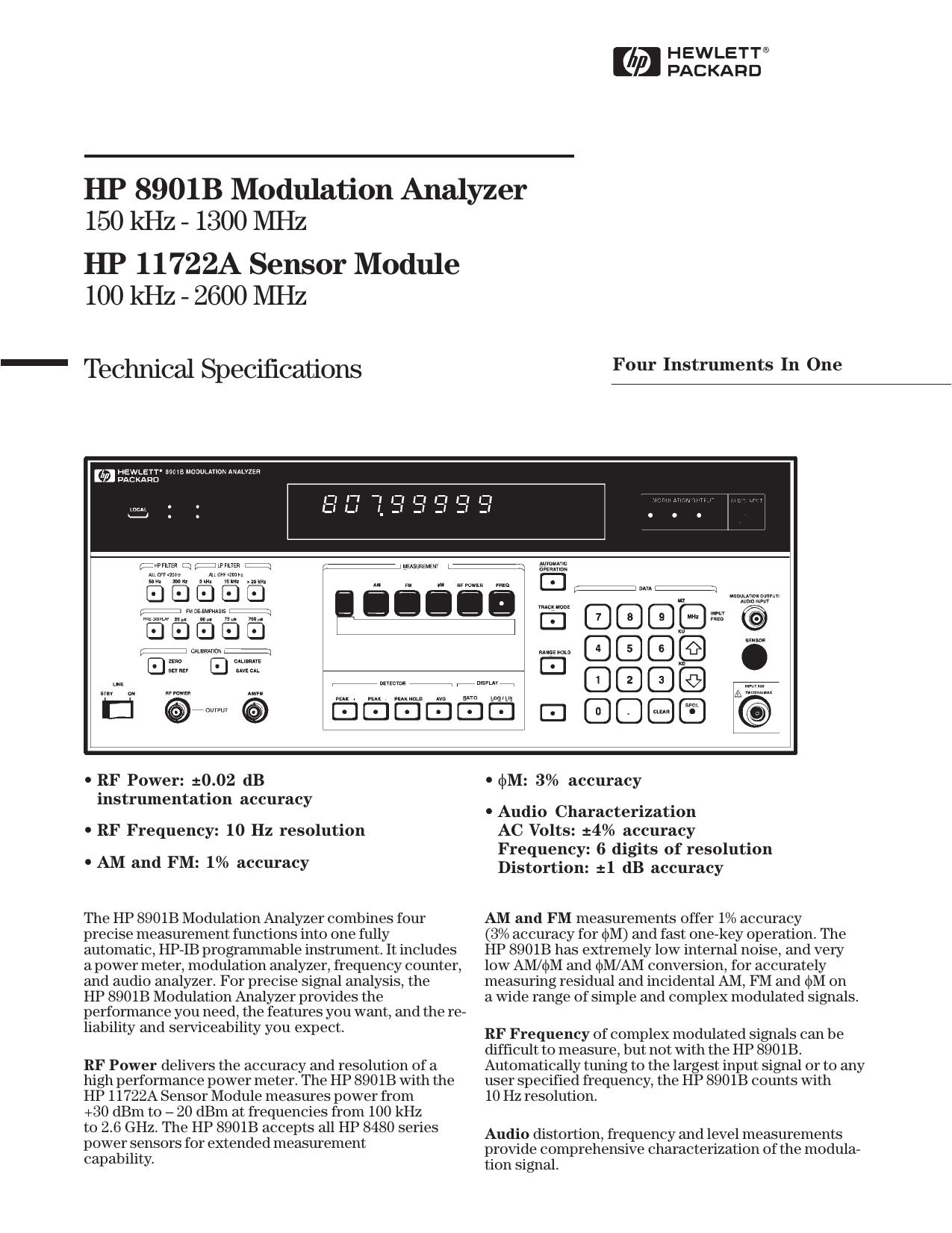 HP 8901B Modulation Analyzer HP 11722A Sensor Module | manualzz com
