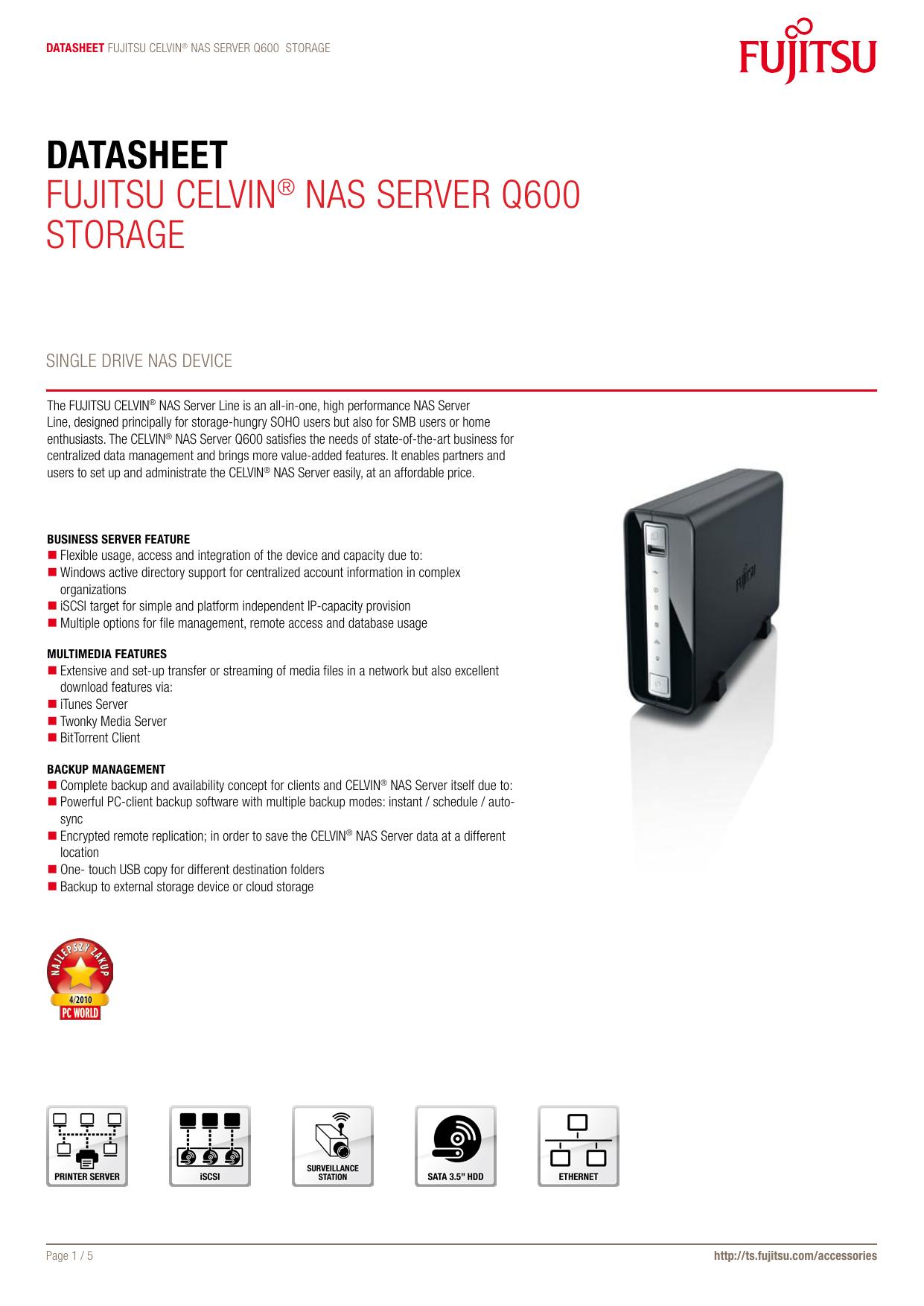 Datasheet Fujitsu CELViN® NAs sErVEr Q600 storAgE | manualzz com