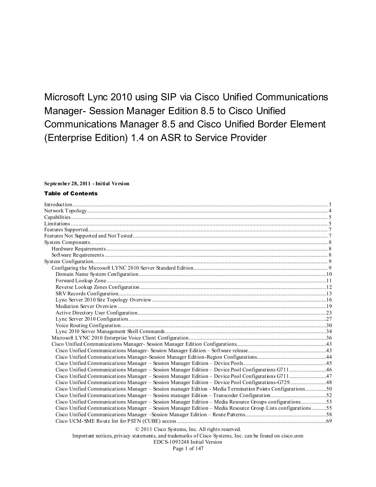 Microsoft Lync 2010 using SIP via Cisco Unified